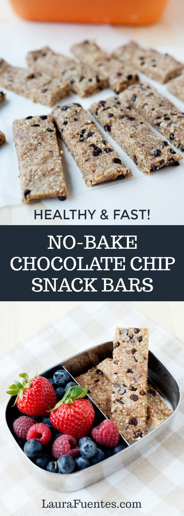 no bake chocolate chip snack bars that are made with healthy and real ingredients