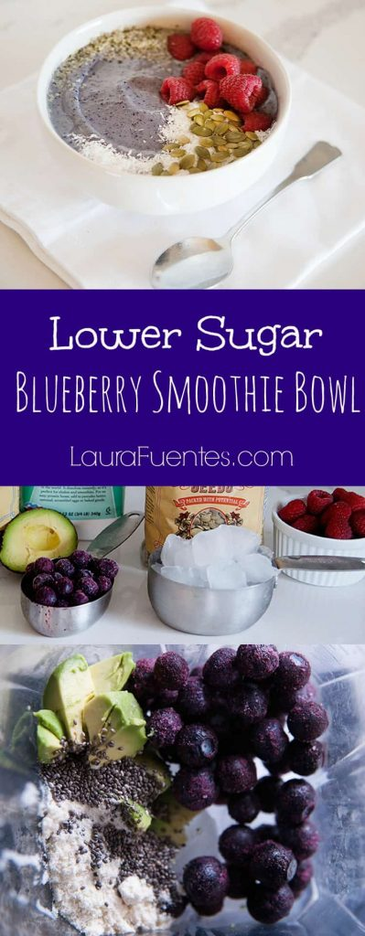 Lower Sugar Blueberry Smoothie Bowl: How to make delicious smoothie bowls with less sugar and the same great taste.