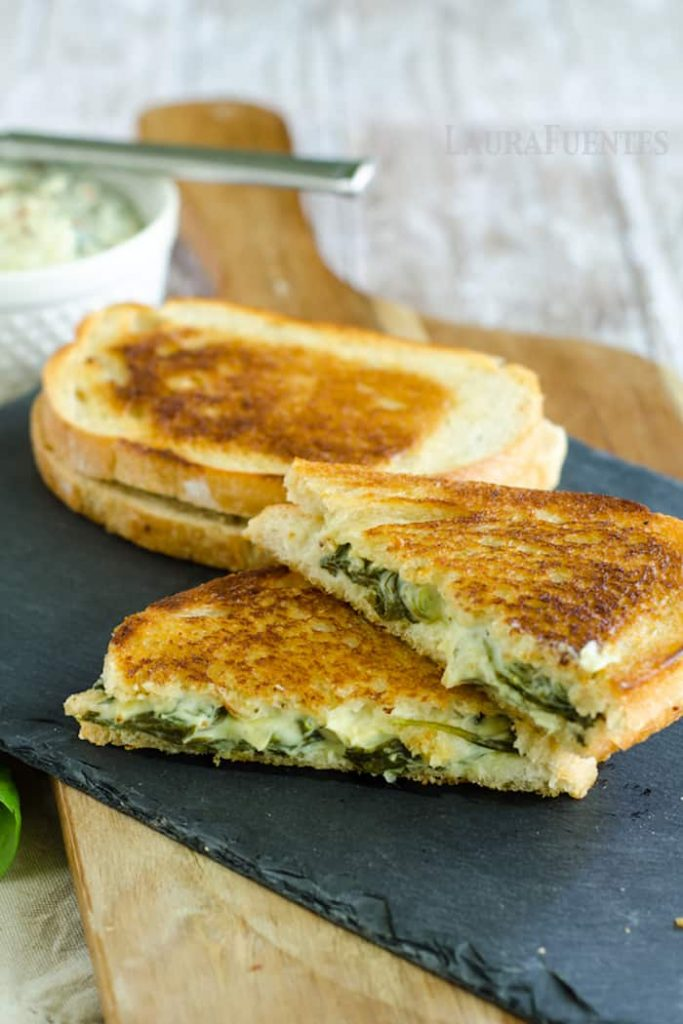 Spinach and Artichoke Sandwich Melts and Dip - One recipe two awesome ways to eat it! via SuperGlueMom.com