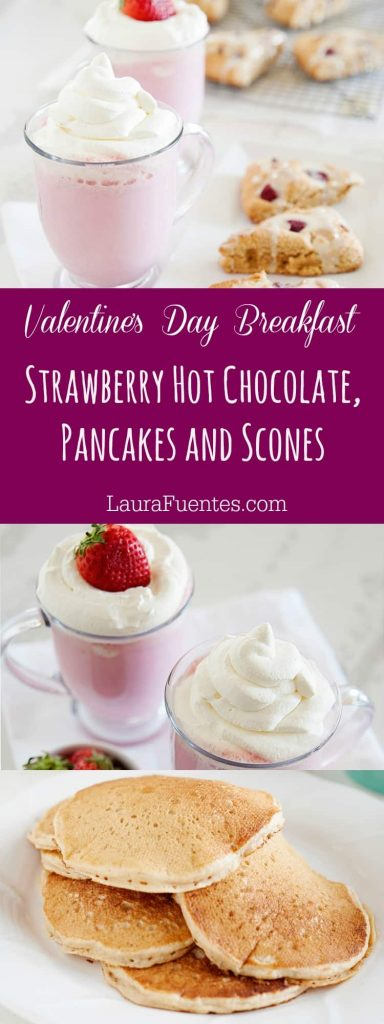 Want to make Valentine's Day a little extra special this year? I've got the perfect themed breakfast for you! Complete with Strawberry White Hot Chocolate and perfectly fluffy pancakes with strawberry sauce.