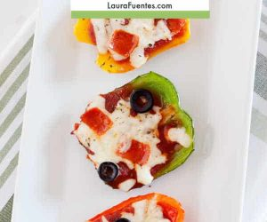Easy bell pepper pizza with pepperoni and olives