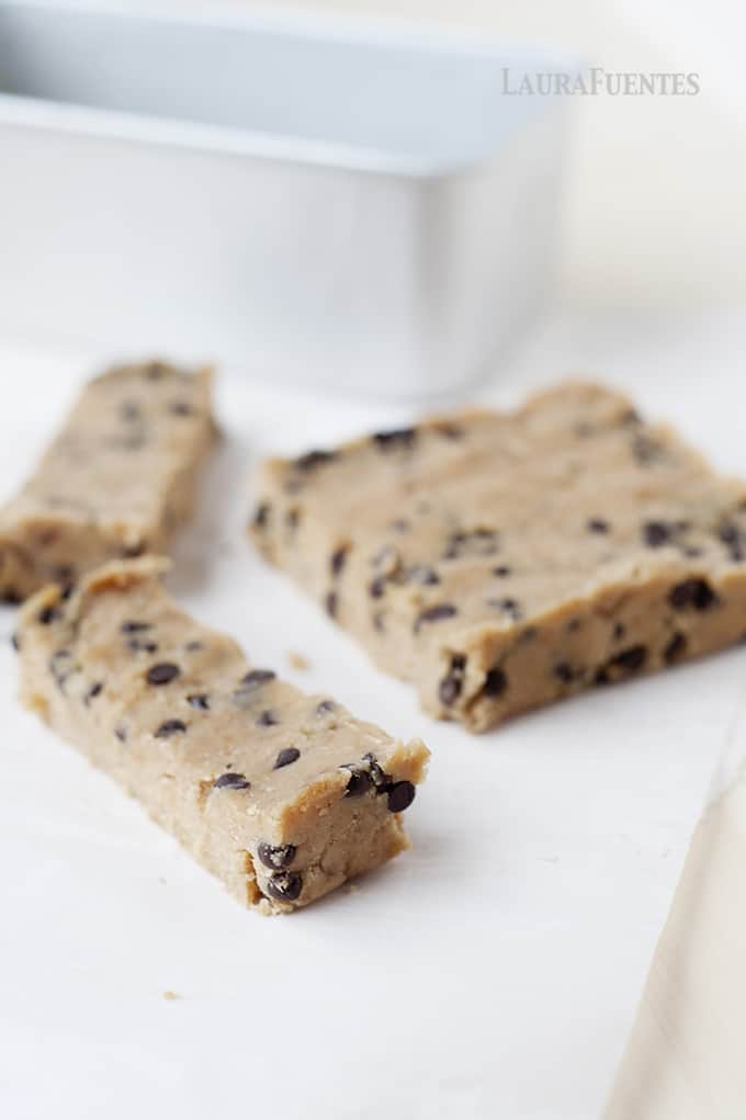 Image: closeup view of freshly made no-bake blondies in slices
