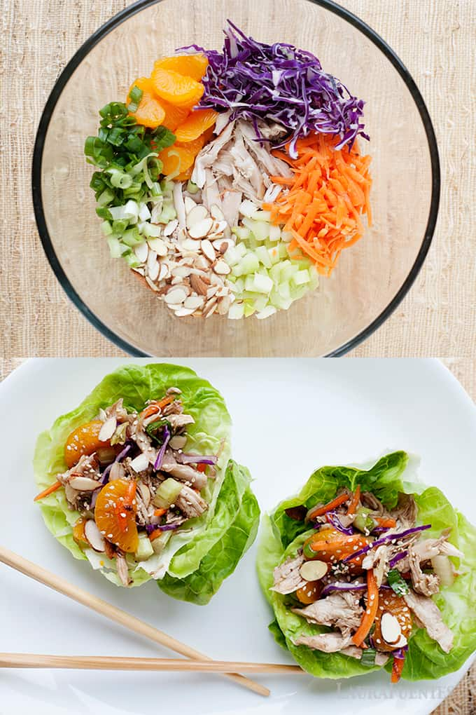 Image: Two images on top of each other. The top one is a clear bowl with chicken salad ingredients inside. The bottom image is two lettuce cups filled with chicken salad and chopsticks.