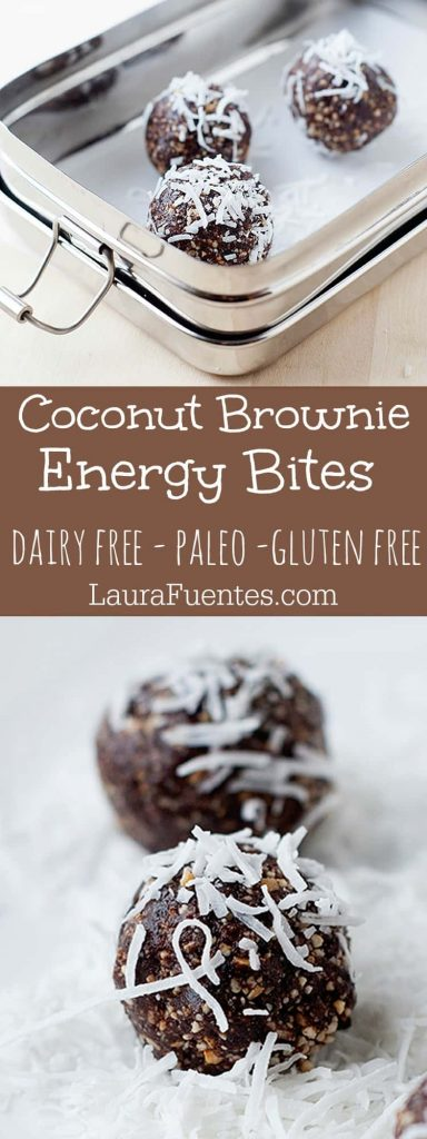 These Coconut Brownie Energy Bites are the perfect snack to eat on the way to the gym or right after! Gluten Free snack bites.