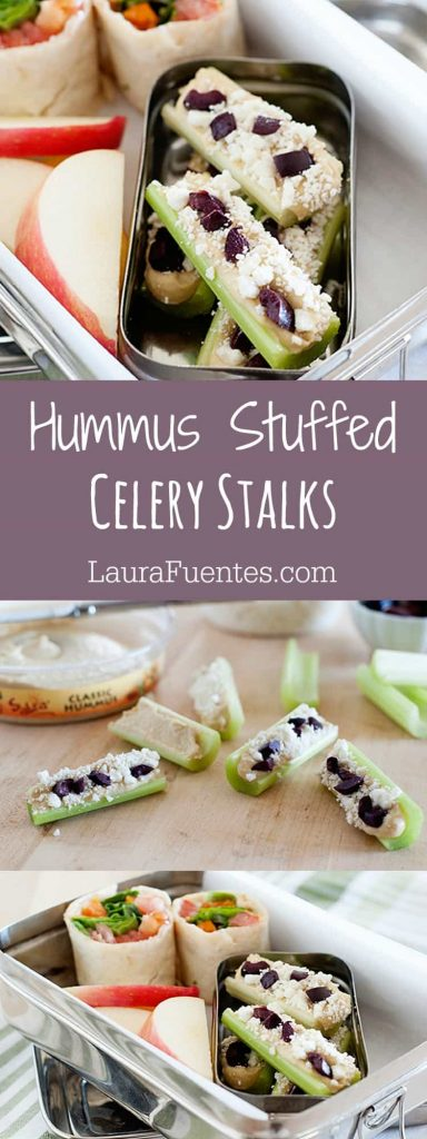 "For times when you need to get your ""healthy snacking"" on, these Hummus Stuffed Celery Stalks come to the rescue!"