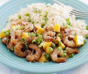 What I love about this sweet and spicy mango shrimp stir fry recipe is that it comes together in just 20 minutes and the spicy kick is balanced out by the sweet mango.