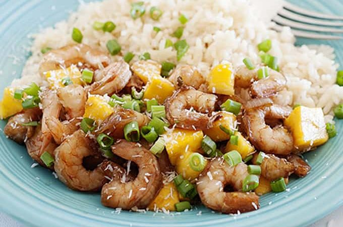 Sweet and Spicy Mango Shrimp Stir-Fry