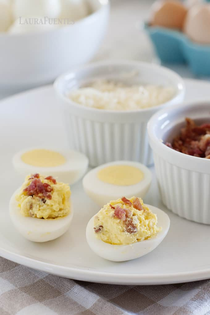 Cheddar Bacon Deviled Eggs