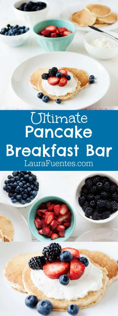 When your kids ask for pancakes, and you want to make the classic, fluffy staple a lot more fun, this Pancake Breakfast Bar is our favorite way to enjoy breakfast