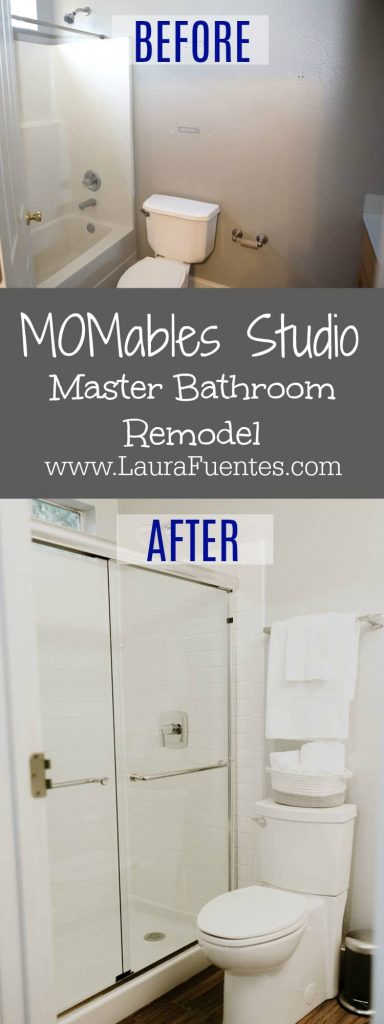 Before and After of the Master Bathroom at the MOMables Studio.