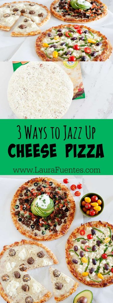 What's your favorite way to jazz up a plain cheese pizza? It's all about the toppings!! Here are 3 of my favorite combinations over my favorite cheesy, thin-crust pizza.