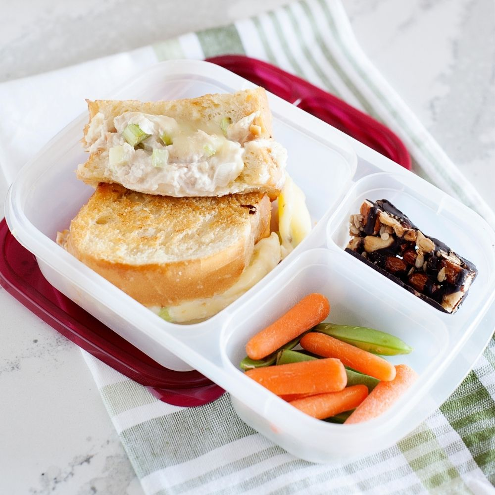 tuna melt grilled cheese in a lunch container