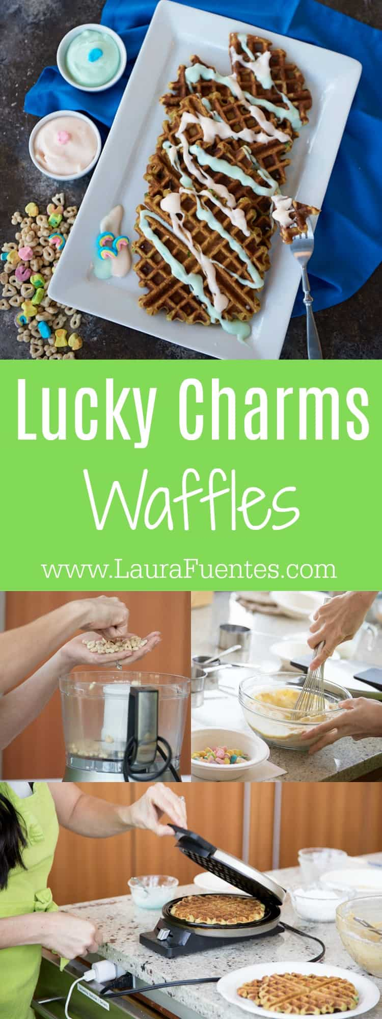 Candy? For breakfast? Let me tell you, these Lucky Charm Waffles aren't just for kids..