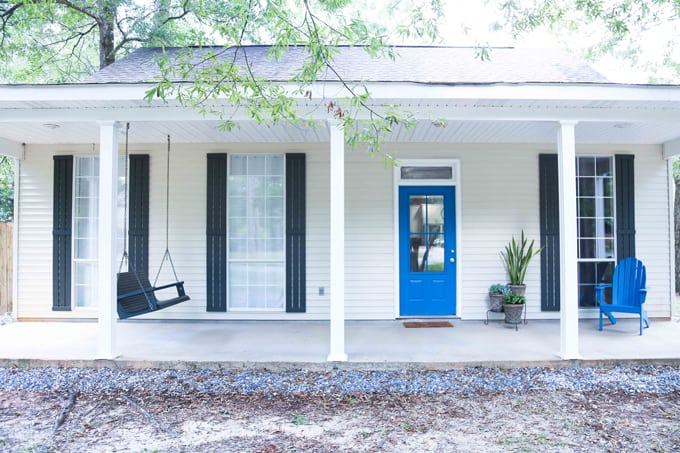 Clean, crisp, modern-urban exterior renovation of our cottage. Check out the before and after pictures for this curb appeal project! What a difference paint makes with HGTV HOME by Sherwin-Williams #ad