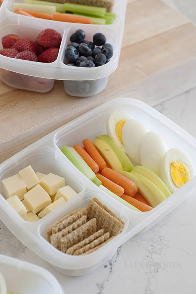 ABC's Bento Lunch | Apples, Boiled Eggs, Carrots, Celery and Cheese, oh my! Doesn't this sound like the perfect snack box or lunch.