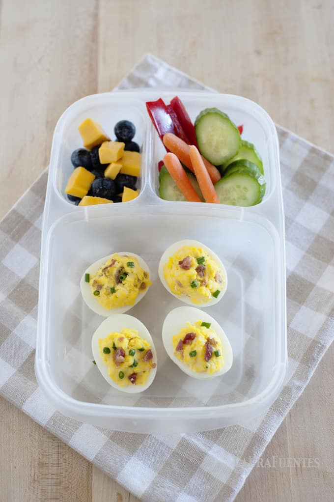 Up your lunchbox game with these Loaded Baked Potato Deviled Eggs! Bacon, Eggs and Cheese? YES! You are not going to believe how good these deviled eggs taste. They taste just like a loaded baked potato but without any of the carbs!
