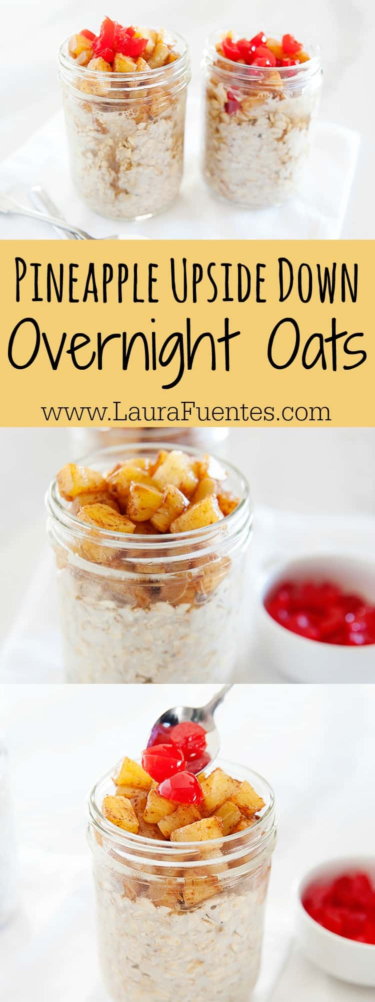 Fresh breakfast on the go? Piece of cake with these Pineapple Upside Down Cake Overnight Oats.