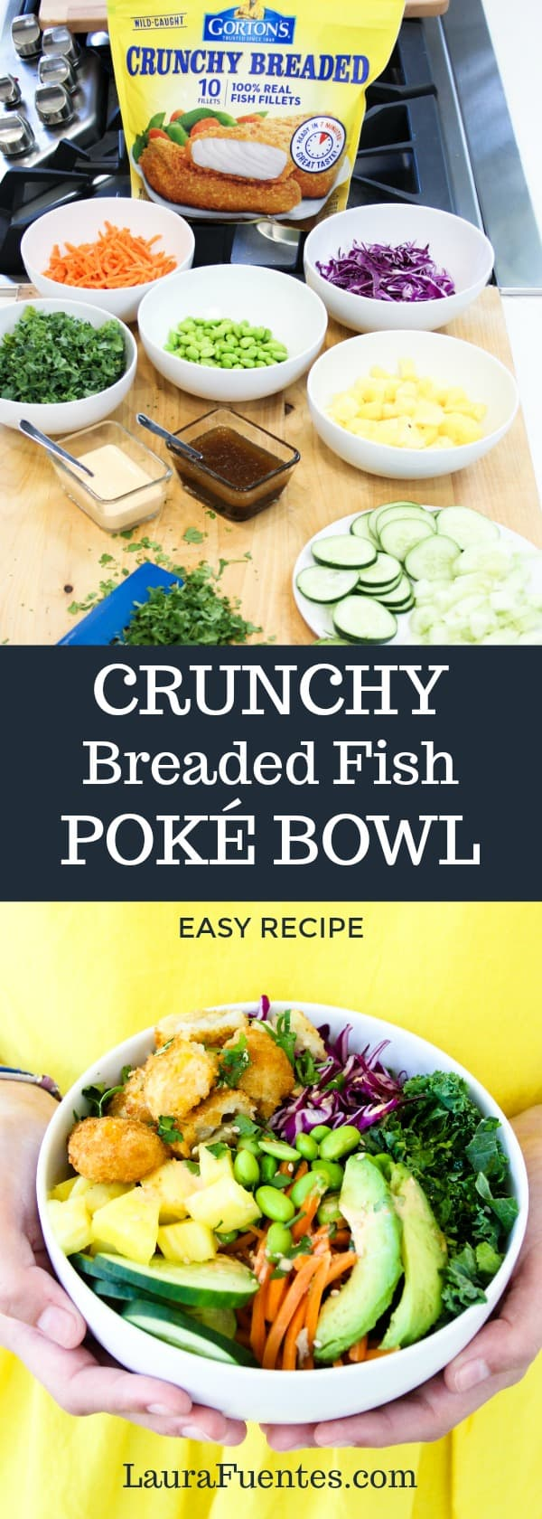 Easy to make for a quick, healthy midweek meal, these homemade Crunchy Fish Poké Bowls that even the pickiest of eaters will love! #ad @gortonsseafood #TrustGortons