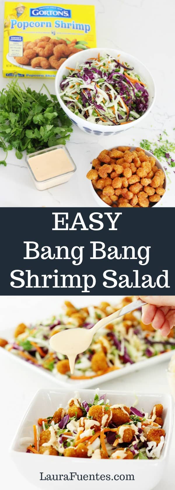 Hip, healthy, and fast: Baked Bang Bang Shrimp Salad that comes together in a flash! It's the perfect quick midweek meal or fantastic for entertaining! #ad @gortonsseafood #TrustGortons