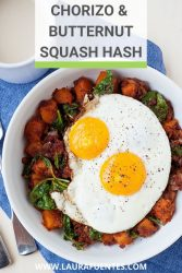 Image: butternut squash and chorizo hash with a fried egg on top