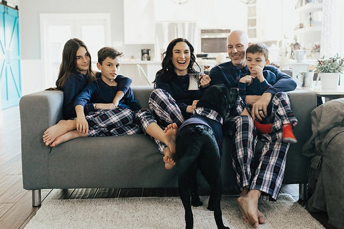 fuentes family in matching pjs for christmas morning