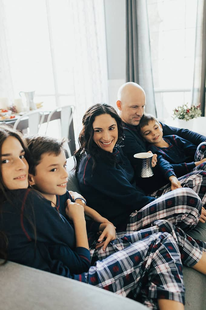 Fuentes Family on the sofa Christmas morning