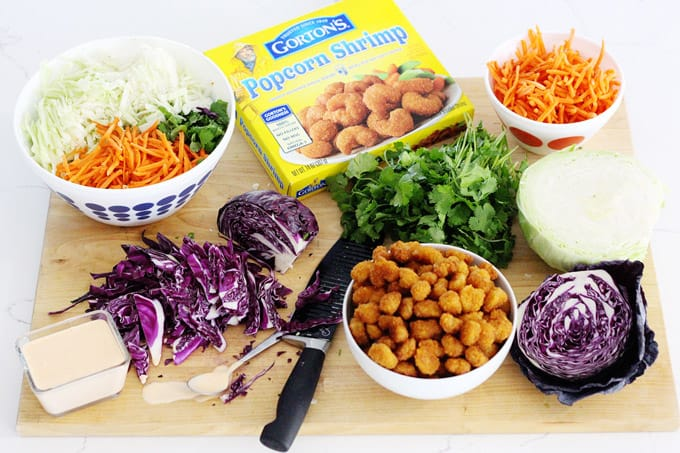 Healthy ingredients for an easy Bang Bang Shrimp Salad with baked shrimp