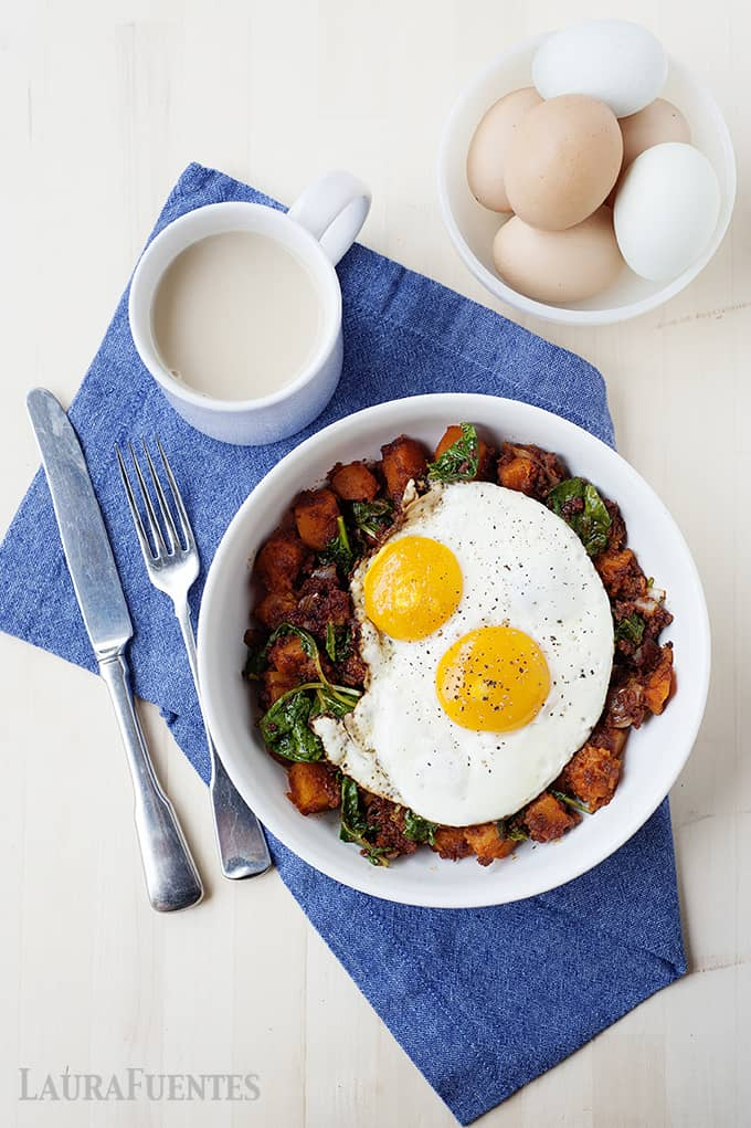 Nourish bowl revamped with this butternut squash and chorizo bowl topped with a fried egg.