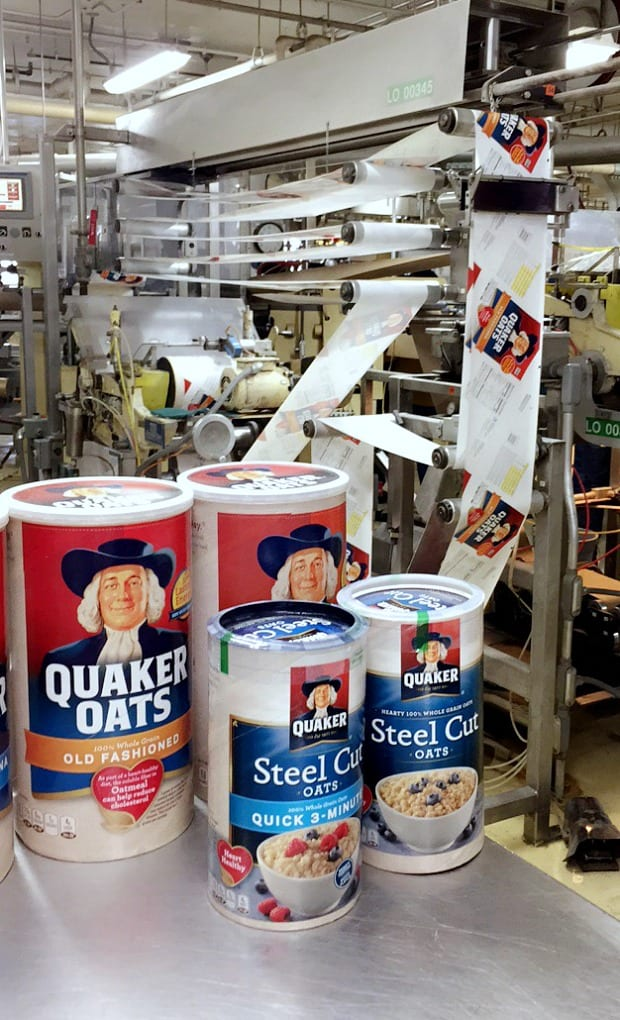 Quaker oats canisters being made