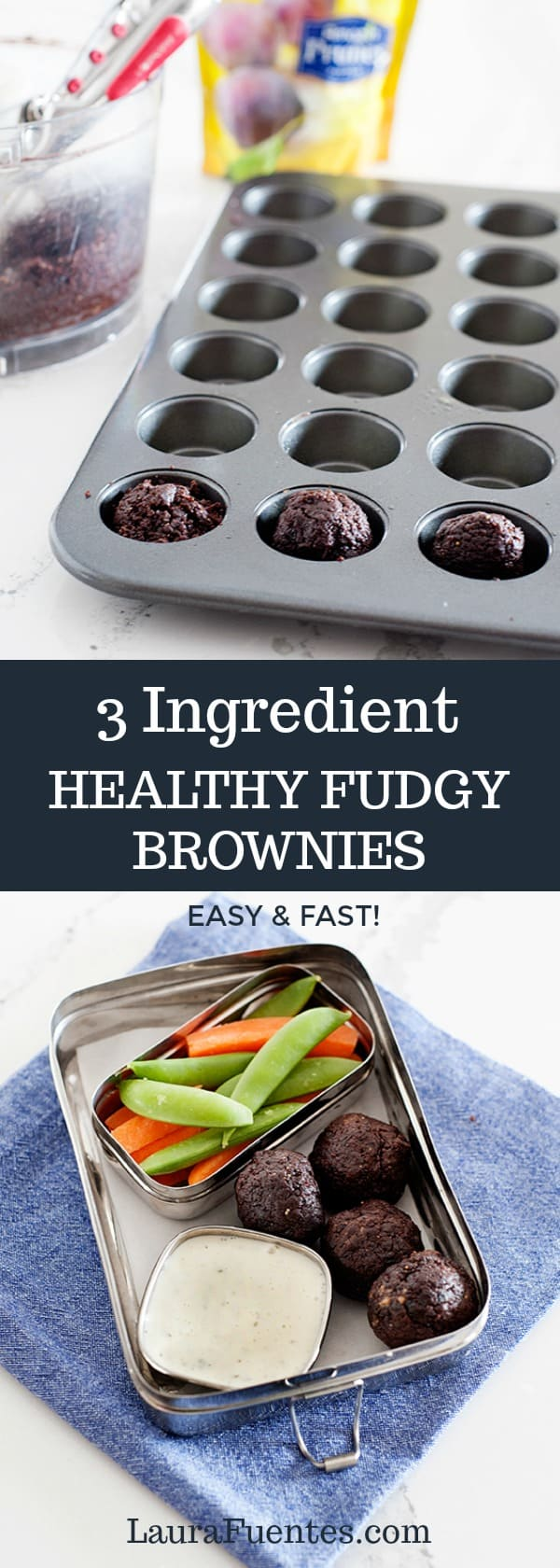 These 3 ingredient healthy fudgy brownies are the bomb. They have no added sugars and they are so good it's hard to stop eating just one!