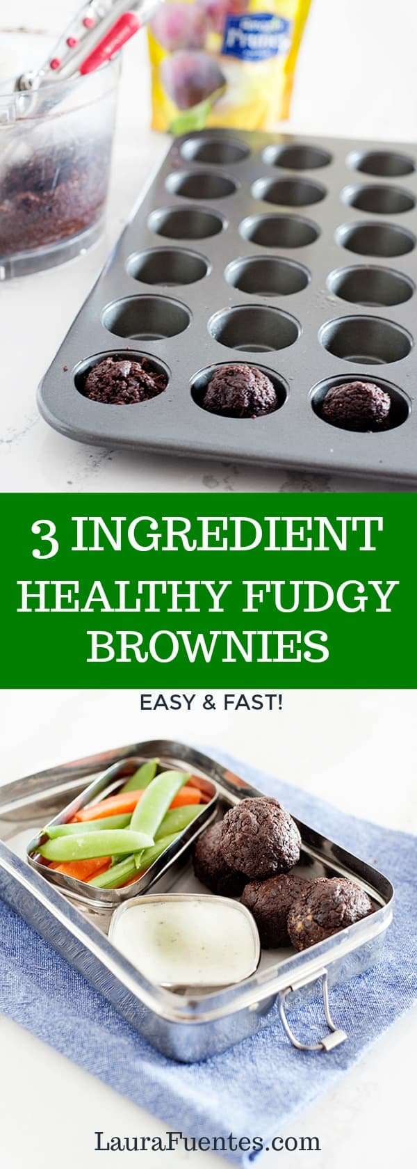 these 3 ingredient healthy fudgy brownies have no added sugars and are a terrific treat or high fiber snack for the lunchbox
