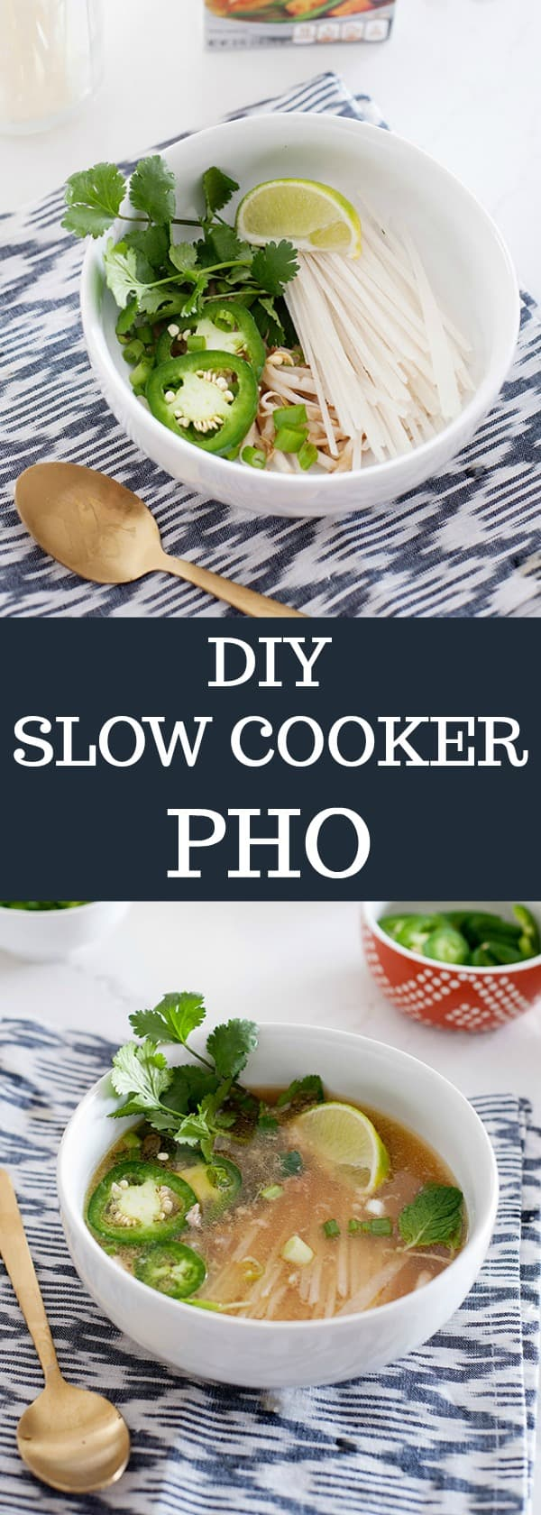 Easy and Kid friendly homemade slow cooker pho recipe for busy week nights