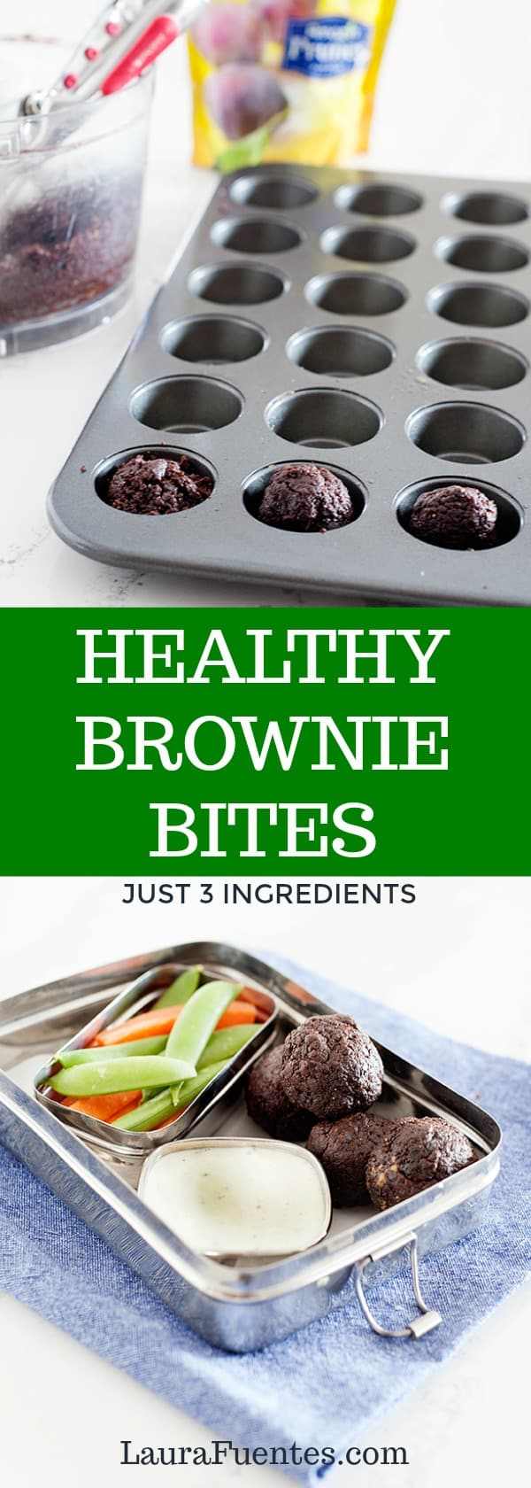 these healthy brownie bites have just 3 ingredients and are super easy to make! they are a healthy snack or treat for the lunchbox