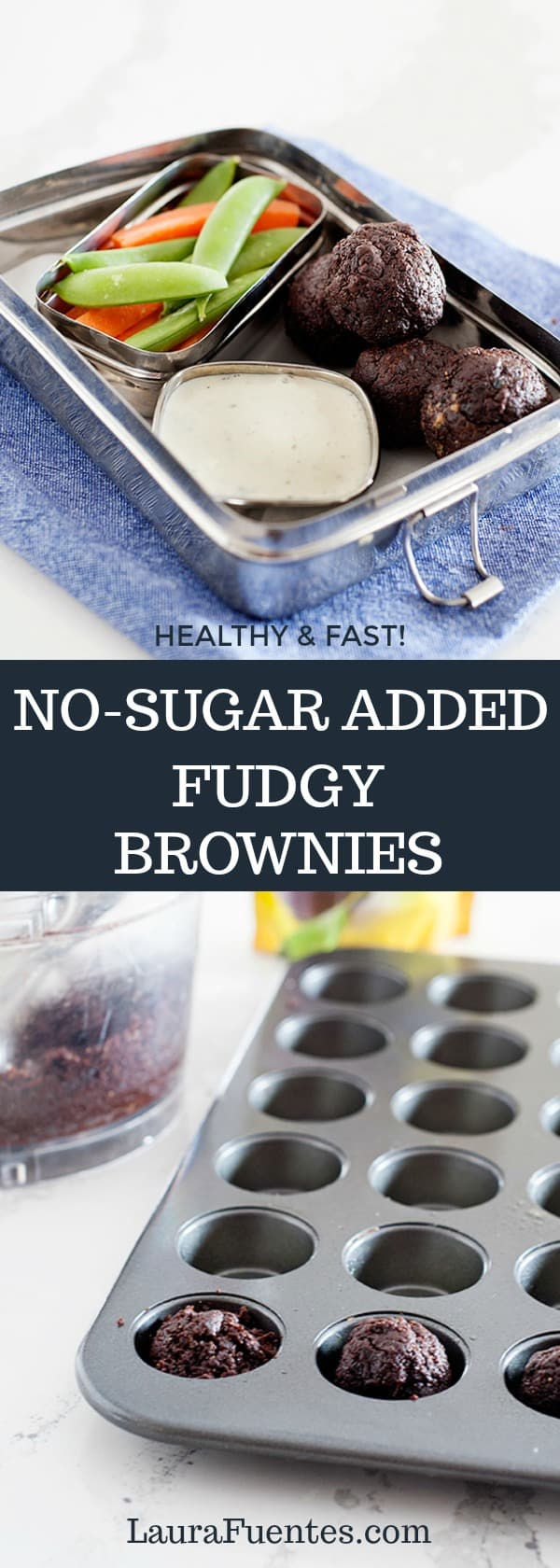 these no sugar added healthy fudgy brownies have just 3 ingredients and are super easy to make as a healthy treat or snack!