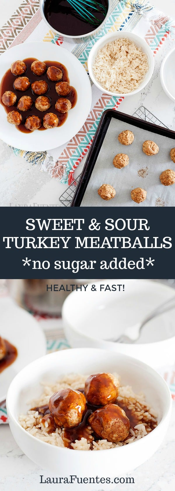 This sweet and sour meatball recipe is easy to make without adding sugar! It can be made in the slow cooker or the oven. Whole30 recipe (omit the breadcrumbs)