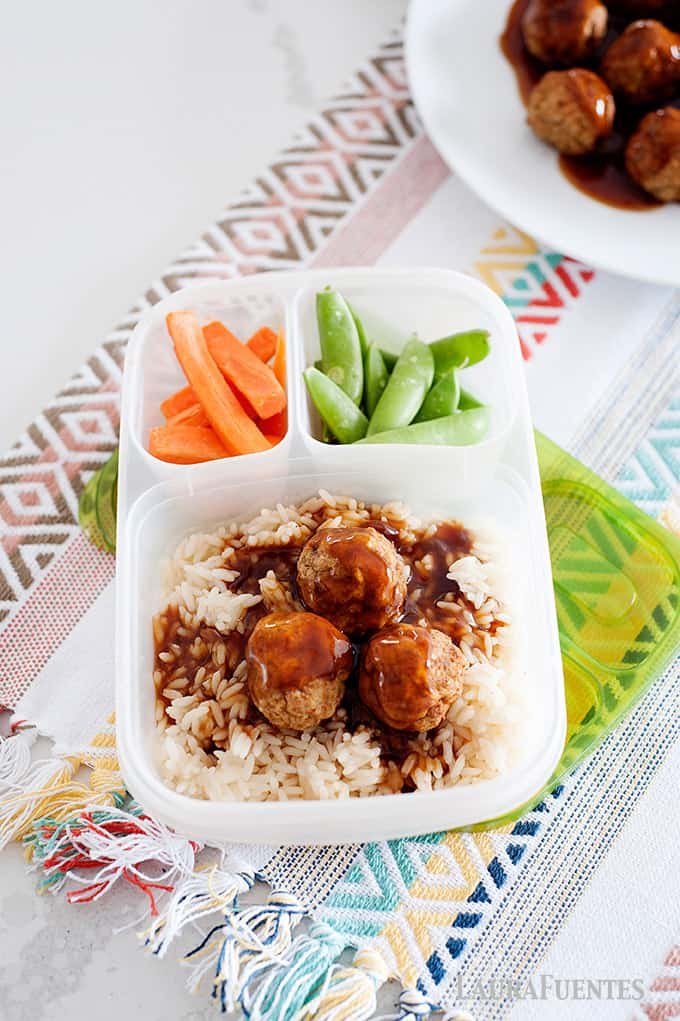 sweet and sour meatballs lunch box