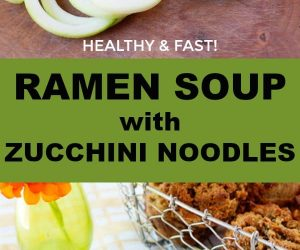 healthy ramen soup with zucchini noodles that comes together in 15min! Keto, Paleo, Low-carb... the perfect meal.
