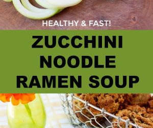 healthy zucchini noodle ramen soup. Whole30, low-fat, paleo & keto recipe