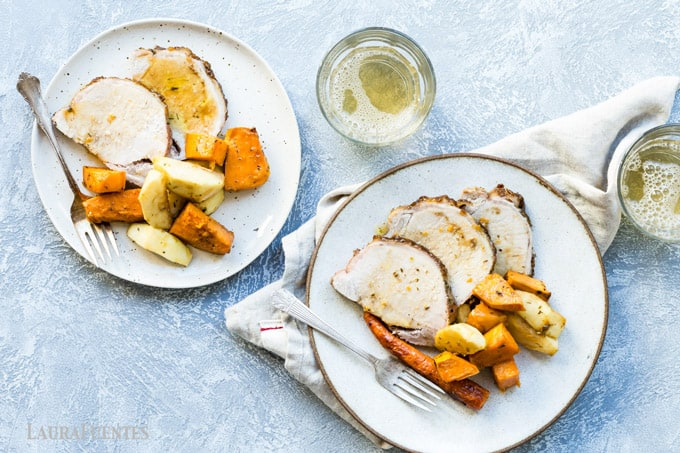 This easy sheet pan pork roast with a brown sugar and dijon glaze with sweet potatoes and carrots comes together in a snap and is delicious!