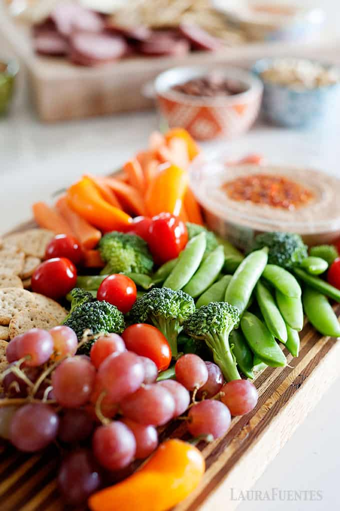 fruit and veggies build an antipasto platter easily
