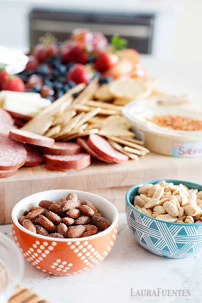 antipasto platter with nuts