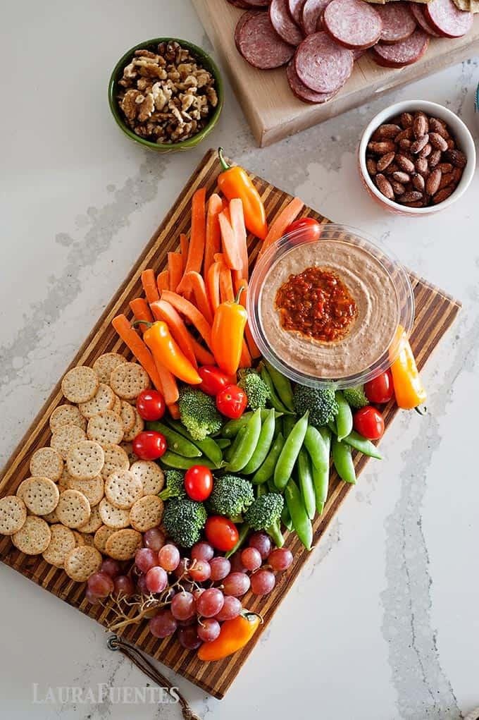 hummus and veggie antipasto platter