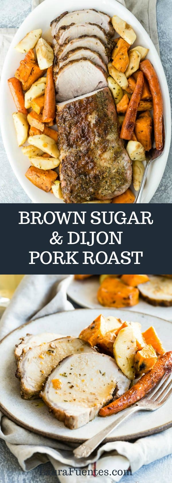 Brown Sugar and Dijon Pork Roast that's easy to make on a weeknight or as a holiday roast