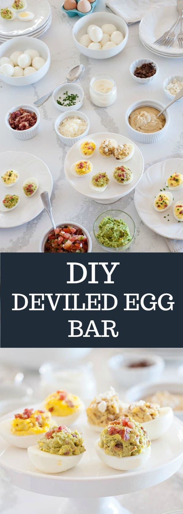 Have a lot of hard-boiled eggs? Turn them into a DIY Deviled Egg Bar for a fun party dish that you and your guests will love!