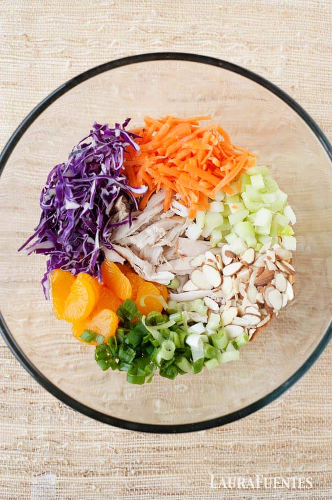 healthy asian chicken salad bowl