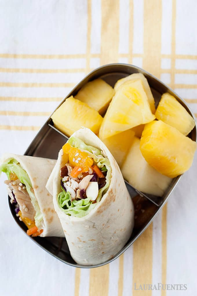 healthy asian chicken salad with fresh pineapple lunch