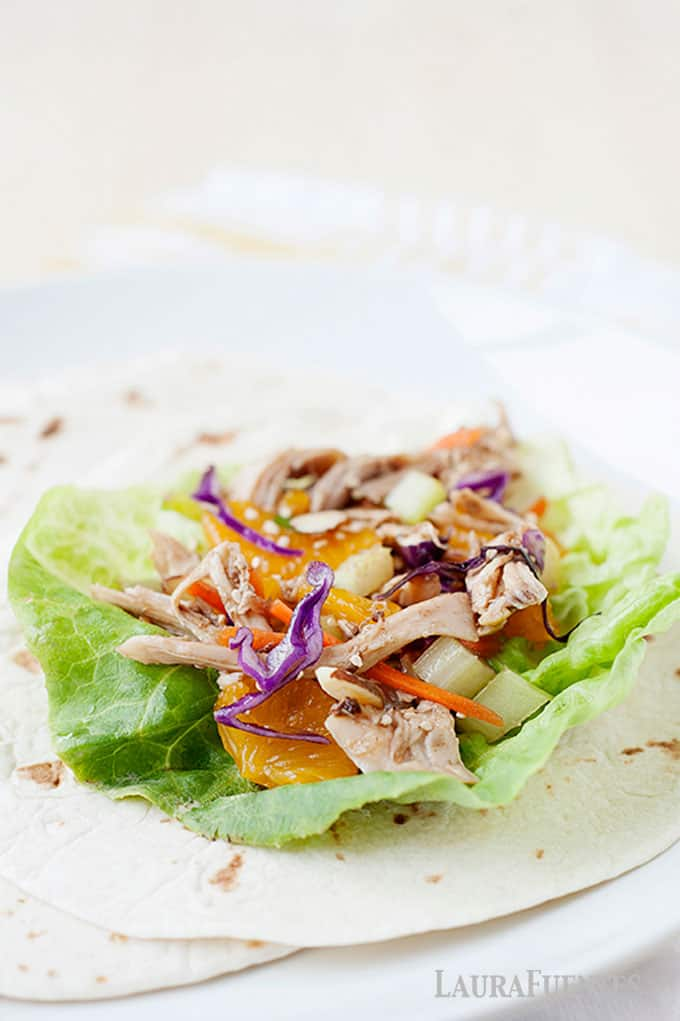 healthy asian chicken salad wrap for lunch