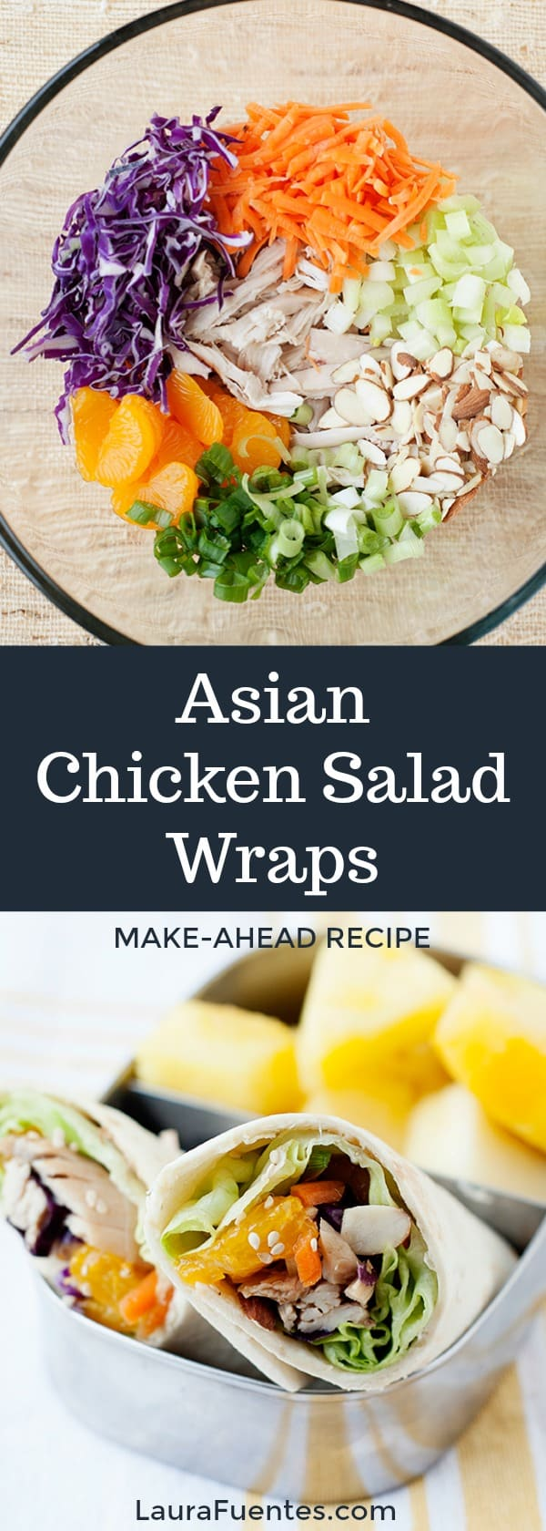 One bowl easy salad turned into a This healthy Asian Chicken Salad Wrap is an easy healthy lunch idea!
