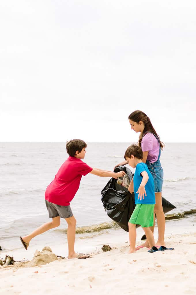 beach cleanup with kids
