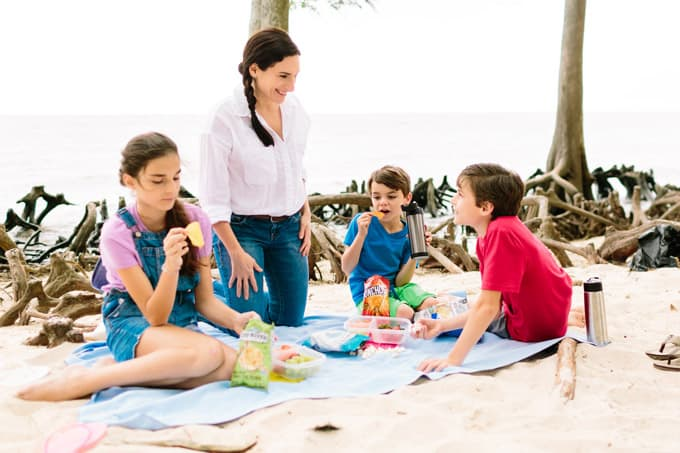 beach cleanup with kids snack time